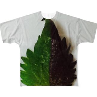 半分な紫蘇 Full graphic T-shirts