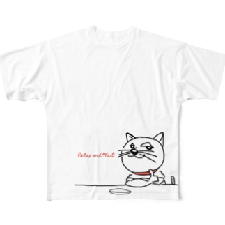 Relax and wait 餌を待つ猫 Full graphic T-shirts