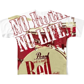 No Rock. No Life. Red(Drum) Full graphic T-shirts