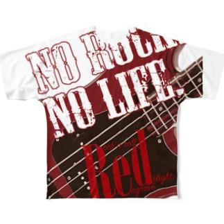 No Rock. No Life. Red(Bass) Full graphic T-shirts