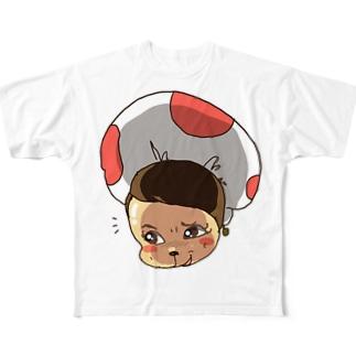 たくらむキノコちゃん  Full graphic T-shirts