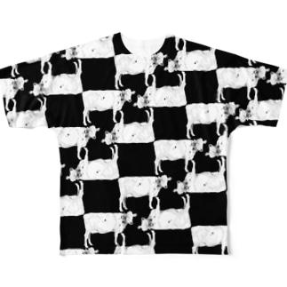 市松牛柄 Full graphic T-shirts