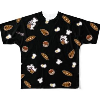 パンとテディ轟 クロ Full graphic T-shirts