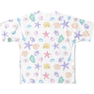 貝殻柄 Full graphic T-shirts