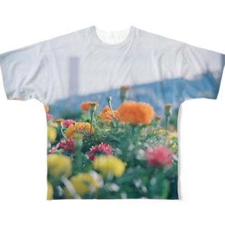 カラフルフラワー Full graphic T-shirts