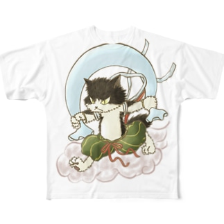 風猫雷猫図屏風 Full graphic T-shirts