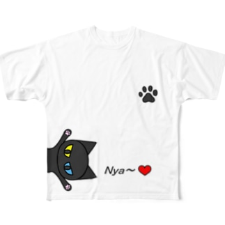 黒猫Nya~ Full graphic T-shirts