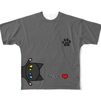 黒猫Nya~(グレー) Full graphic T-shirts