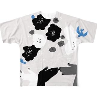 black flower & blue bird Full graphic T-shirts