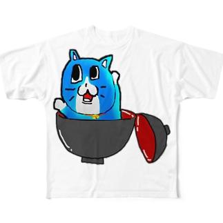 あおいねこ(おわん) Full graphic T-shirts