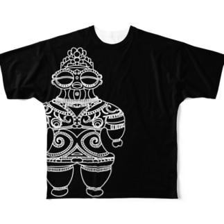 遮光器土偶 ホワイト (前姿と後姿)  Full graphic T-shirts