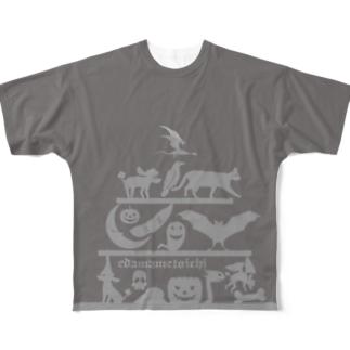 ハロウィン2 グレイ Lサイズ用 両面 Full graphic T-shirts