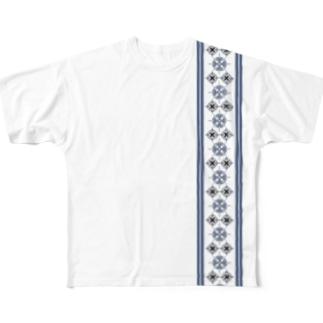 文様 青 ラインb Full graphic T-shirts