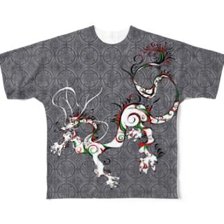 龍と文様 モノクロ Full graphic T-shirts