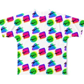 ○ △ □(ちかちかマシマシ) Full graphic T-shirts