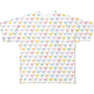 音符ネコまみれ Full graphic T-shirts