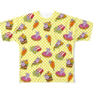 うさぎ柄(黄色) Full graphic T-shirts