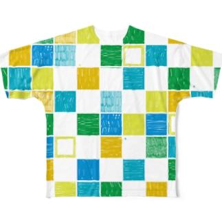 モザイク あおりんご Full graphic T-shirts