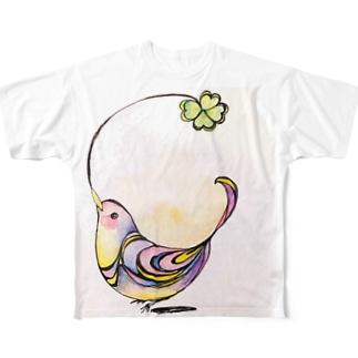 小鳥とクローバー Full graphic T-shirts