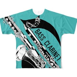バスクラ(マリンブルー) Full graphic T-shirts