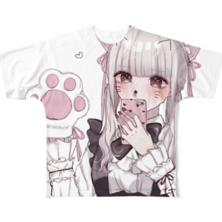金髪猫耳メイドちゃん Full graphic T-shirts