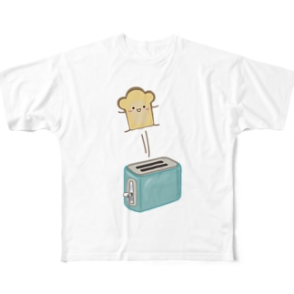 ポップアップトースターと食パンさん Full graphic T-shirts