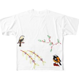 ウメモドキ×ジョビ男&コムラサキ&ジョビ子 Full graphic T-shirts