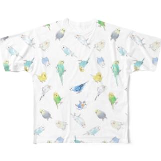 いっぱいセキセイインコちゃん【まめるりはことり】 Full graphic T-shirts