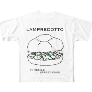 ランプレイラスト 黒文字パターン Full Graphic T-Shirt
