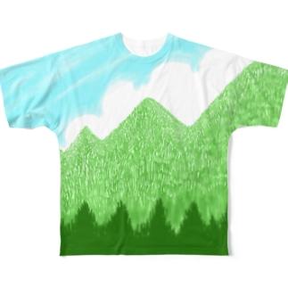 青空と雲と青い山脈ズ Full graphic T-shirts