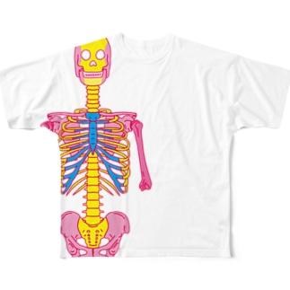 ピンク骸骨 Full graphic T-shirts