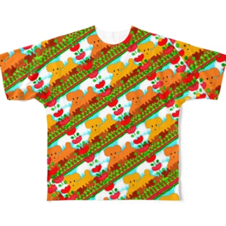 🐩プードルファミリー犬とチューリップ🌷 Full graphic T-shirts