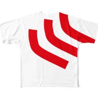 イケハヤの首から左肩にかけての曲線3本 Full graphic T-shirts