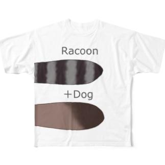 へんないきものチャンネルのたぬきさんTシャツ Full graphic T-shirts