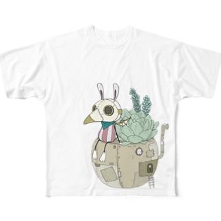スチパンうさぎ(多肉植物) Full graphic T-shirts