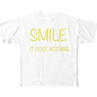 Smile ロゴ Full graphic T-shirts