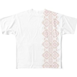 ピンク大島紬龍郷柄風 Full graphic T-shirts