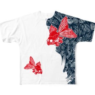 ドクロ金魚(全面) Full graphic T-shirts