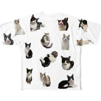 猫がたくさん Full graphic T-shirts