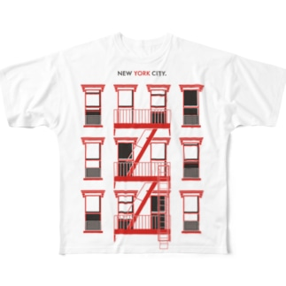 NEW YORK CITY [RED] Full graphic T-shirts