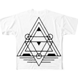 幾何学模様1 Full graphic T-shirts