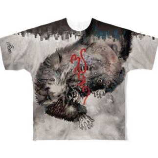マチュカバーショップのモンにゃんフルグラTシャツ「新井英樹 VS 平田澱」ver. WHITE Full graphic T-shirts