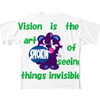 くるりんモクモックマB 紫 Full graphic T-shirts