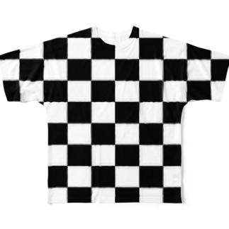 チェッカーフラッグ柄 Full graphic T-shirts