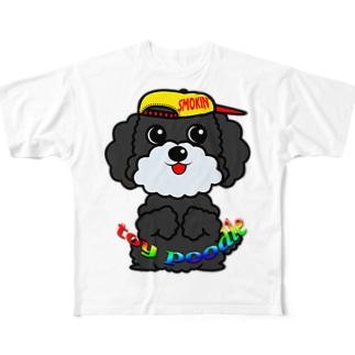 オリジナルデザインTシャツ SMOKIN'のちんちんトイプードル Full graphic T-shirts
