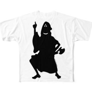 Cɐkeccooのホラーズシルエット(三角帽子) Full graphic T-shirts