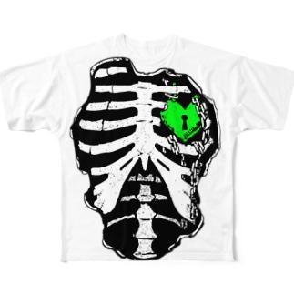 肋骨×南京錠(グリーン) Full graphic T-shirts