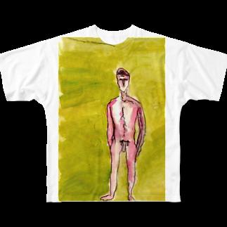 mitzho_nakataの全裸の魂しい Full graphic T-shirts
