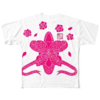 「花籠」Series * LittleBallet Full graphic T-shirts