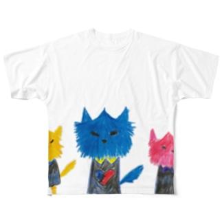 ノラヌコ3兄弟 Full graphic T-shirts